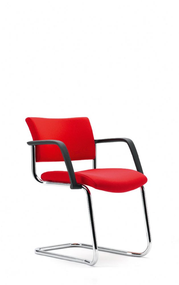 Pledge Arena Stacking Upholstered Visitor Chair With Square Back And Cantilever Base